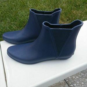 Loffler Randall Blue Slip-On Rain Booties Wedge Bo